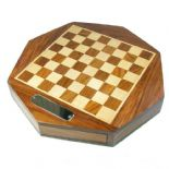 Personalised Chess Set 21cm Octagonal Wooden, ref CS21